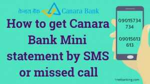 Canara Bank Mini statement