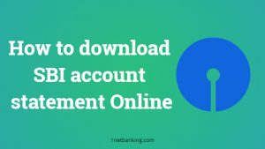 SBI account statement online download