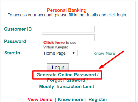 How to Generate online password For IDBI Net Banking 1