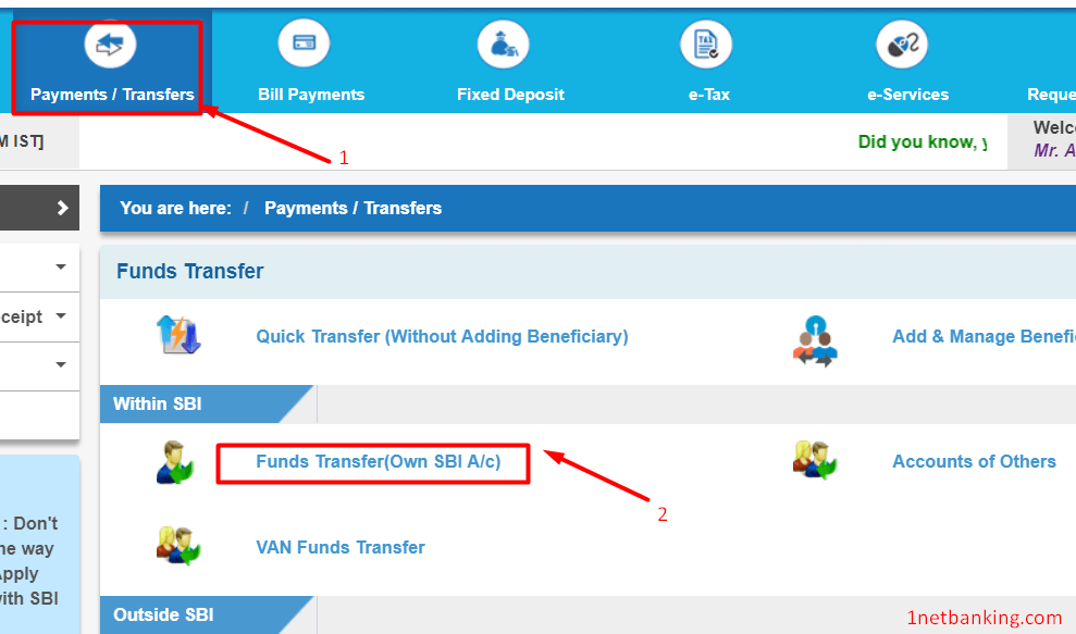transfer money from one account to another