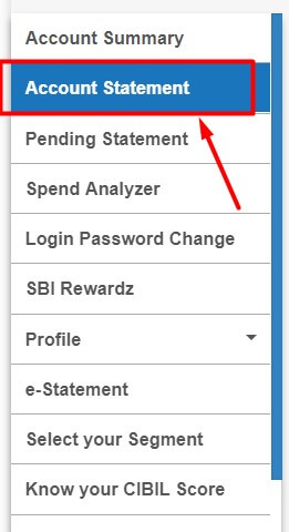 click on account statement option