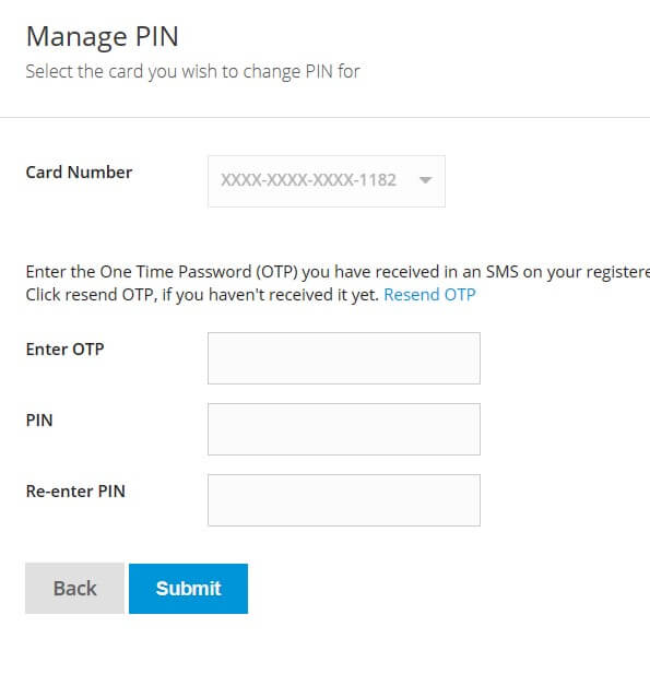enter new pin for sbi credit card
