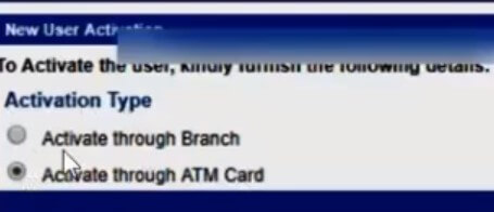 select activate through ATM card option