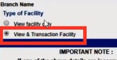 select view and transaction facility option