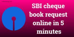 SBI cheque book request online