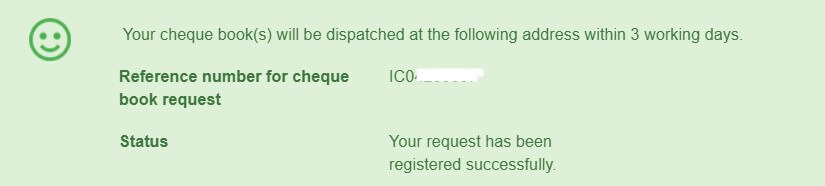 check book request registered successfully