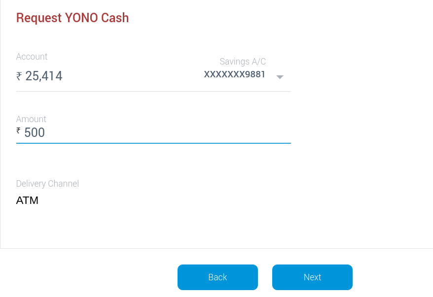 enter amount to withdraw for yono cardless cash