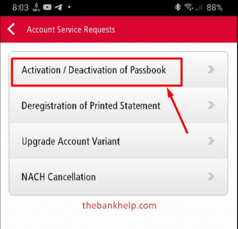 click on passbook activation