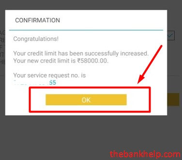credit limit increase confirmation