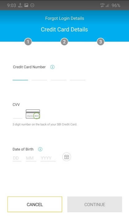 enter sbi credit card details