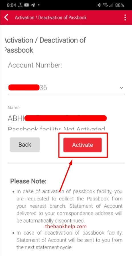 select account number and press activate button