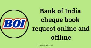 Bank of India cheque book request