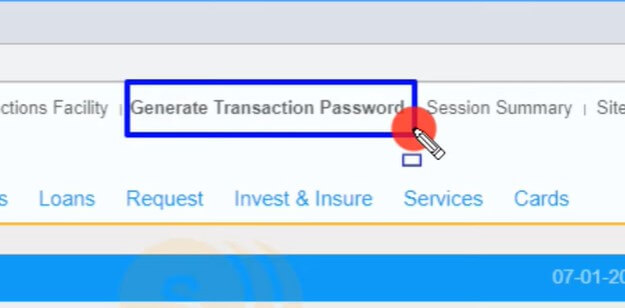 click on generate transaction password