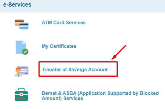 click on transfer of savings account