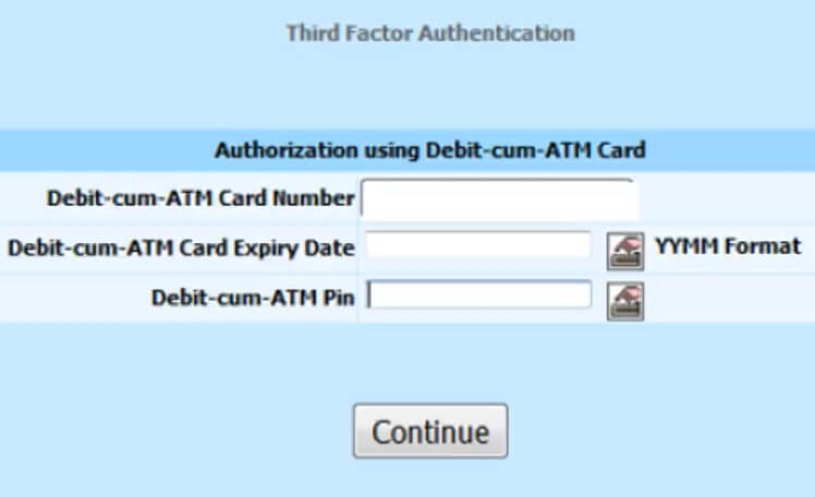 enter debit card number and pin