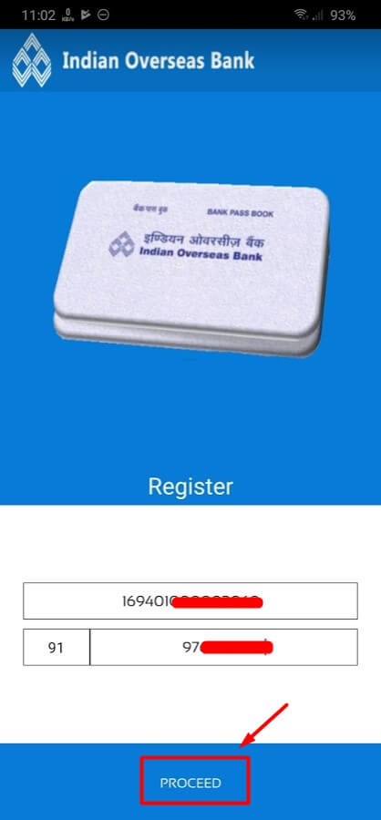 enter mobile number and account number in iob mpassbook app
