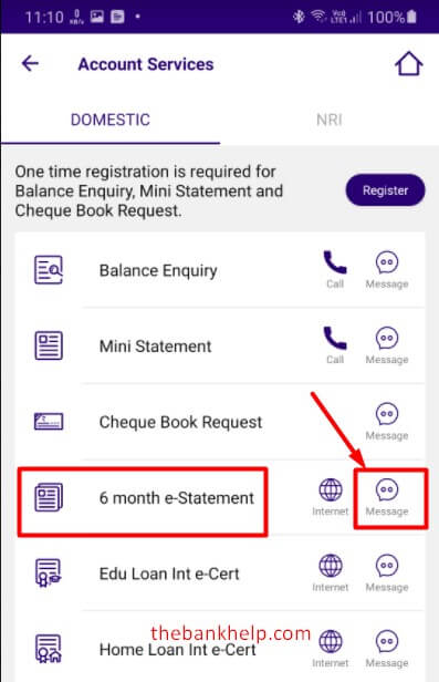 tap on 6 month e statement in sbi quick app