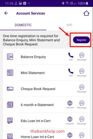 tap on register option in sbi quick app