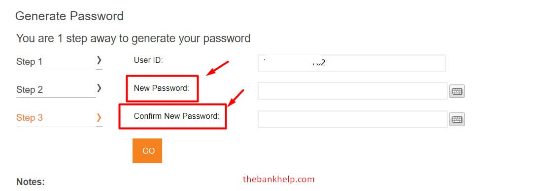 enter new icici net banking password