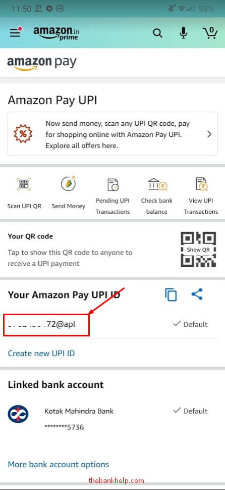 find upi id in amazon pay