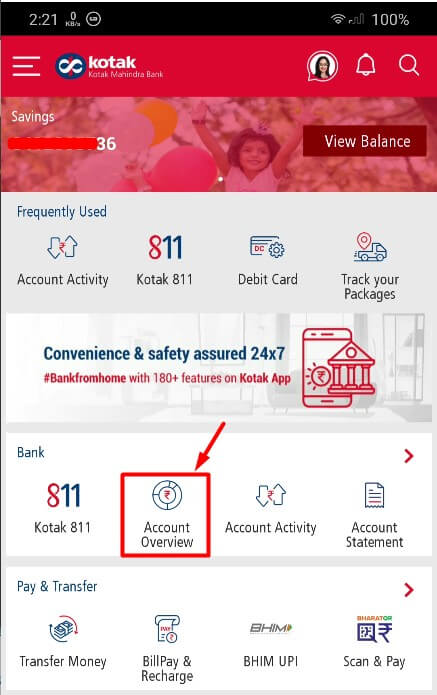 tap on account overview in kotak app