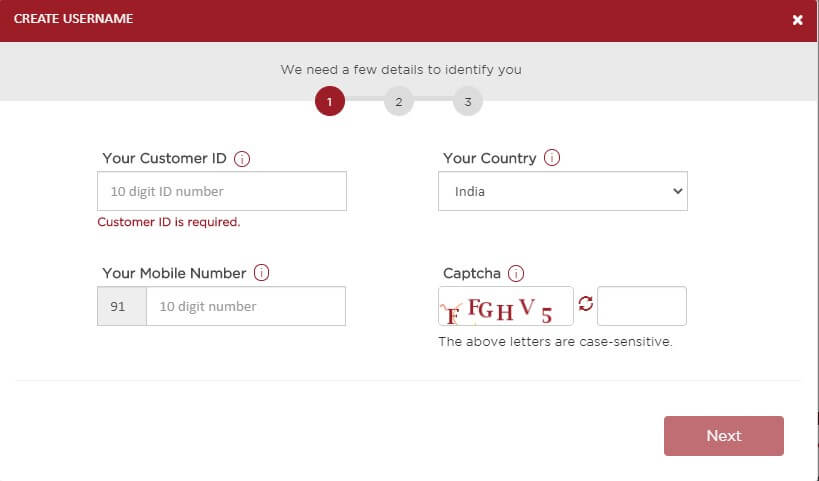 enter customer id and mobile number to create internet banking username