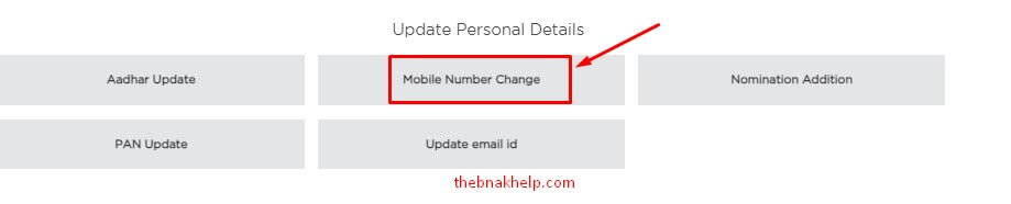 click on mobile number change in idfc internet banking