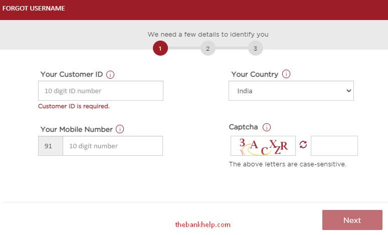 enter customer id, mobile number to recover idfc user id