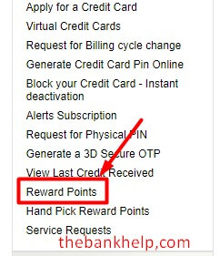 click on reward points option in icici net banking