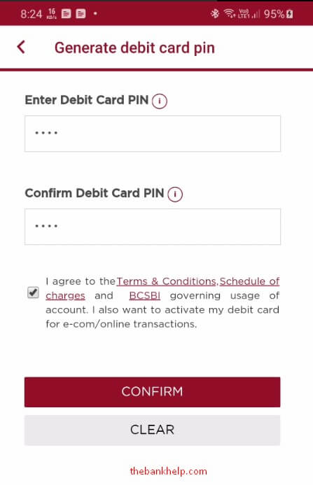 enter new pin to change debit card pin in idfc app