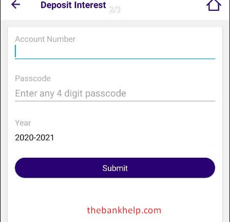 enter account number and passcode to get interest certificate using sbi quick app