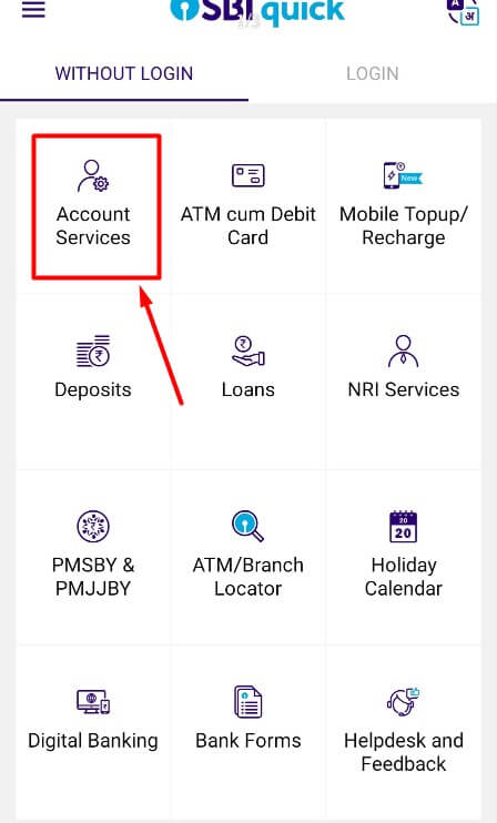 tap on account services in sbi quick app