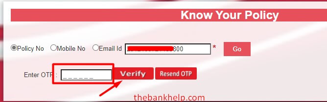 enter otp received on sms or email to download hdfc ergo policy