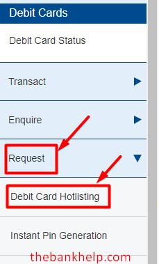 click on debit card hotlisting