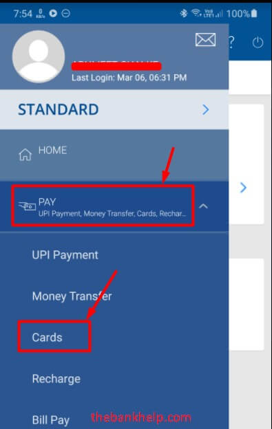 select cards under pay option in hdfc app