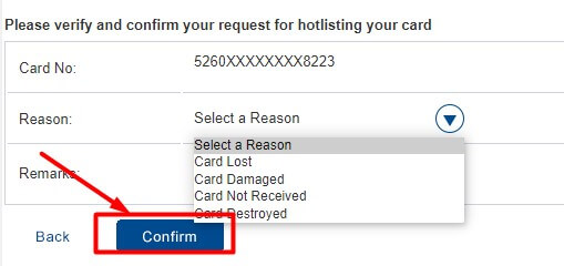 select reason to block hdfc debit card